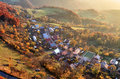 Aerial View Of Sunrise Over Rural Village, Slovakia Royalty Free Stock Photos - 62342108