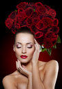 Beautiful Model Woman Rose Flower In Hair Beauty Salon Makeup Royalty Free Stock Photography - 62343547