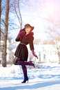Winter Woman On Background Of Winter Landscape, Sun. Fashion Gir Royalty Free Stock Images - 62345369