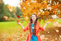 Autumn Model, Bright Make Up. Woman On Background Fall Landscape Stock Photography - 62352822