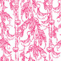 Seamless Boho Pattern Of A Feathers And Keys. Royalty Free Stock Image - 62354116
