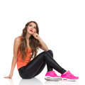 Thinking Girl Sitting Royalty Free Stock Photography - 62355487