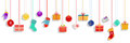 Hanging Gift Boxes, Socks, Mittens And Christmas Balls Royalty Free Stock Photography - 62355707