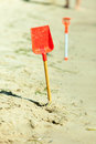 Small Sand Shovel Toy On Summer Beach. Stock Photography - 62369242