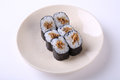 Deep Fried Salmon Skin Maki Sushi On Ceramic Dish Isolated On Wh Stock Photos - 62373233