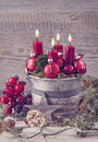 Four Red Christmas Candle Royalty Free Stock Photo - 62385835