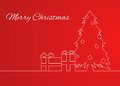 Greeting Card With A Simple Linear Pattern Christmas Tree Royalty Free Stock Images - 62391559