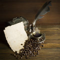Grains And Cup Of Coffee Royalty Free Stock Image - 62404626