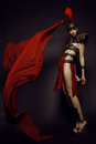 Beautiful Roman Woman In Armour And Helmet Stock Image - 62418451
