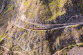 Aerial View Of A Train Which Circling The Mountain Stock Photo - 62423710