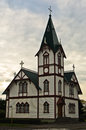 Church In Husavik, Small Town And Harbor In North Iceland Royalty Free Stock Photography - 62425867