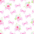 Delicate Bows And Small Rose Bouquets Seamless Vector Print Stock Photo - 62428870