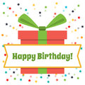Vector Greeting Card Happy Birthday. Big Gift Box And Fireworks Of Colored Stars Stock Photo - 62431530
