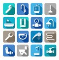 Plumbing, Icons, Colored Background, Shadow. Stock Photo - 62433540