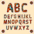 Zentangle Alphabet Colored Letters Stickers Set Royalty Free Stock Images - 62440569