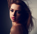 Expressive Sensual Makeup Woman With Pink Lipstick And Smokey Ey Stock Photography - 62457062