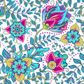 Beautiful Vintage Floral Seamless Pattern Background With Red And Blue Flowers Royalty Free Stock Image - 62467996