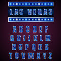 Alphabets Lamp Of Light Neon Of Blue On Blue Background Stock Photo - 62476910
