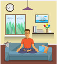 Man Meditates In The Yoga Lotus Position. Home Interior. Stock Images - 62478324