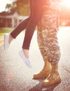 Young Military Couple Kissing Each Other, Homecoming Concept Royalty Free Stock Photo - 62480175