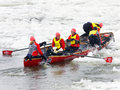 Ice Canoes Competition During The Carnival Of Quebec, Canada Royalty Free Stock Images - 62482089