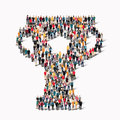 Group  People Shape  Cup Reward Royalty Free Stock Images - 62482239