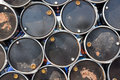 Oil Barrels Or Chemical Drums Stacked Up Stock Photos - 62485733
