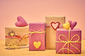 Love Hearts, Valentines Day. Handcraft Gift Boxes Stock Images - 62491764
