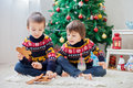 Two Adorable Children, Boy Brothers, Eating Cookies And Drinking Royalty Free Stock Photography - 62491877