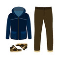 Set Of Trendy Men S Clothes With Parka, Jeans And Sneakers.  Stock Photos - 62494773