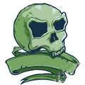 Tattoo Style Skull Banner Vector Illustration Royalty Free Stock Images - 6256349