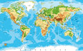 Physical Map Of The World Royalty Free Stock Photos - 62502888