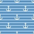 Tile Sailor Vector Pattern With White Anchor On Navy Blue Stripes Background Stock Images - 62506464
