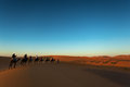 Sillhouette Of Camel Caravan Going Through The Desert At Sunset Royalty Free Stock Photography - 62506697