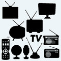 Set Of Equipment: Television, Antenna, Remote Control, Radio And Webcam Royalty Free Stock Photo - 62512485