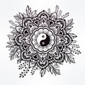 Ornate Flower With Yin And Yang Symbol. Stock Photography - 62513282