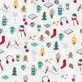 Winter Doodles Hand Drawn Seamless Pattern Royalty Free Stock Photography - 62519927