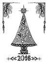 Christmas Tree In Zen-doodle Style Black On White Stock Photography - 62523282