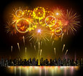 Holiday Firework And Night City Stock Image - 62542691