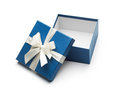 Blue Open Gift Box With White Bow Stock Images - 62542764