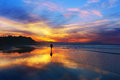 Man Walking On The Beach At Sunset Royalty Free Stock Images - 62542849