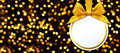 Christmas Ball With Bow Hanging On Lights Background Royalty Free Stock Image - 62547396
