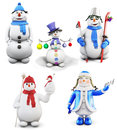 Set Of Cheerful Snowmen  On White Background. 3d. Royalty Free Stock Photos - 62548408