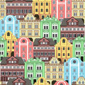 Seamless Background With Old Colorful Buildings For Wallpaper Or Background Design. Royalty Free Stock Photos - 62550738