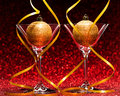 Two Glasses Ready For Christmas Celebration Stock Image - 62568271