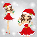 Cute Fashion Girl Dressed In Red Santa Claus Dress Royalty Free Stock Photos - 62572548