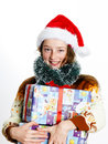 Cute Teenage Girl In Santa Red Hat With Gift Box Royalty Free Stock Photography - 62573297