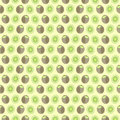 Seamless Vector Pattern, Mat Symmetrical Background With Elements Of Kiwi, Whole And Cut, Over Light Yellow Background Stock Photo - 62594340