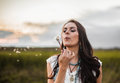 Boho Woman In Field Stock Photos - 62595283