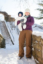 Winter Walk In The Snow With Mom Royalty Free Stock Photography - 62606307